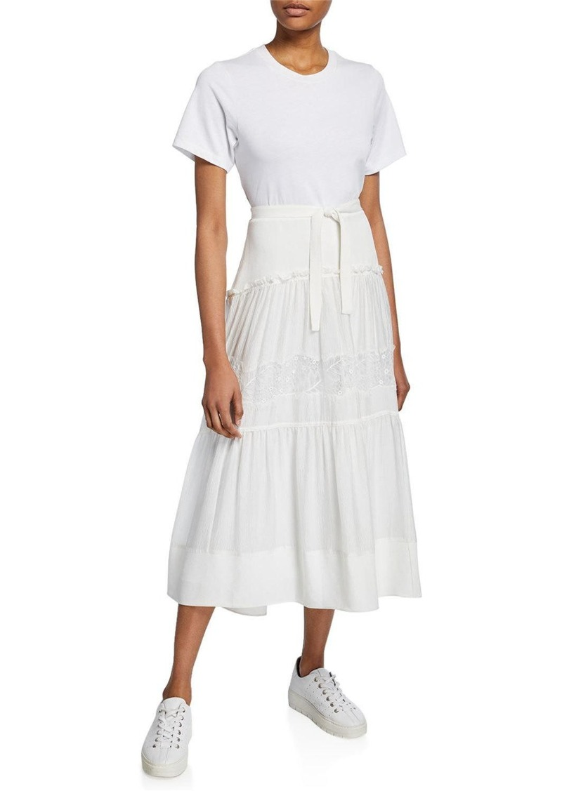 3.1 Phillip Lim Short-Sleeve T-Shirt Dress w/ Belted Lace-Inset Skirt