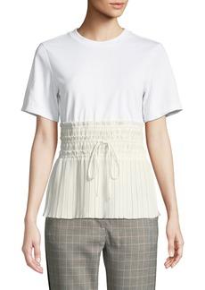 3.1 Phillip Lim Short-Sleeve T-Shirt with Pleated Waist