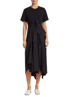 3.1 Phillip Lim Short-Sleeve Wrap Handkerchief Combo T-Shirt Poplin Dress