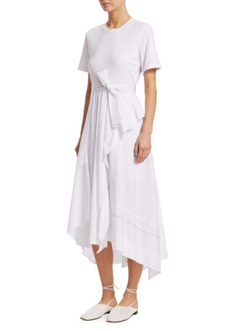 3.1 Phillip Lim Short-Sleeve Wrap Handkerchief Combo T-Shirt Poplin Dress