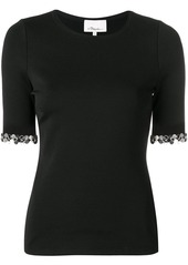 3.1 Phillip Lim Short Sleeved T-Shirt with Embellished Sleeve Trim