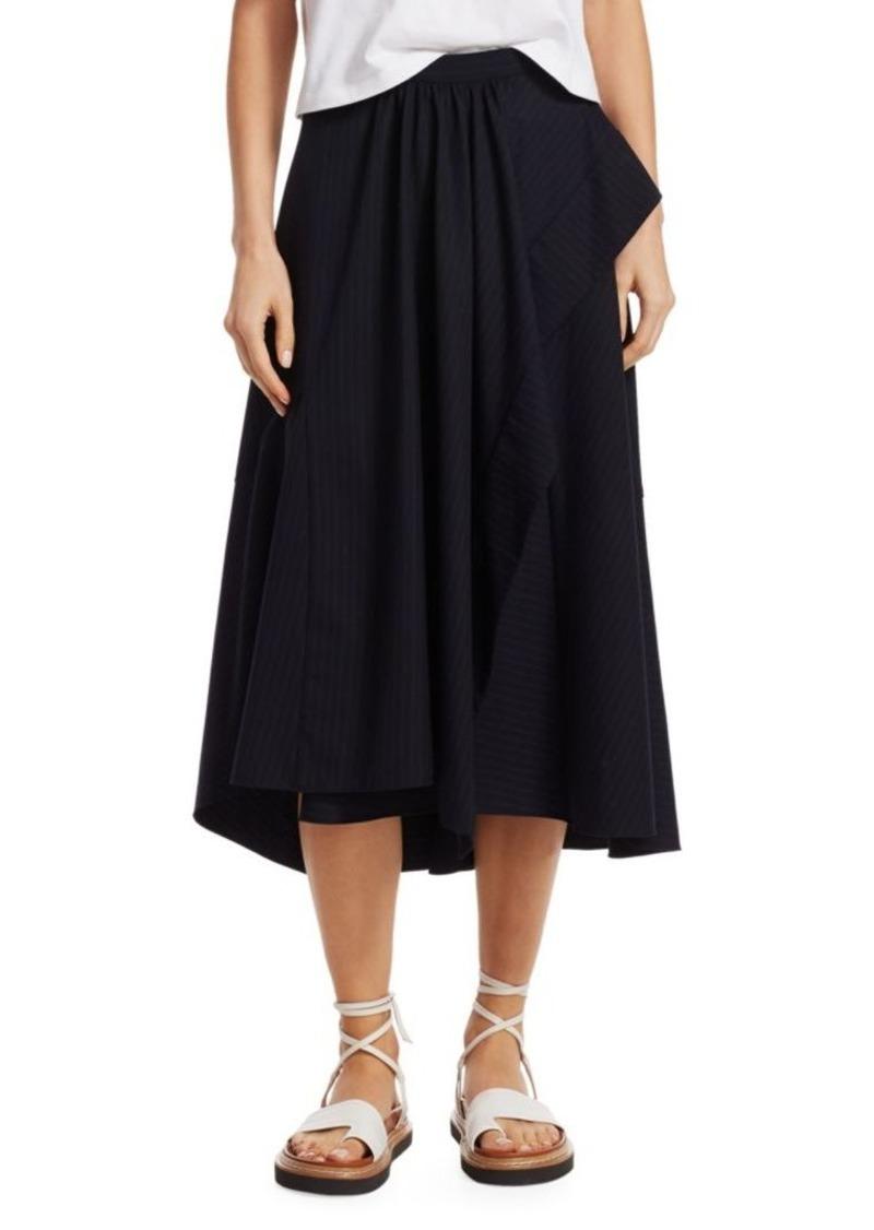 3.1 Phillip Lim Side Ruffle Pinstripe A-Line Skirt