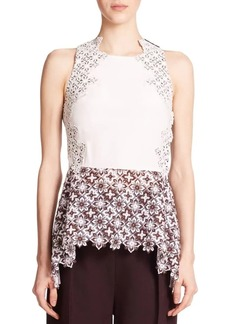 3.1 Phillip Lim Silk & Lace Peplum Top