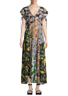 3.1 Phillip Lim Silk Patchwork Long Dress