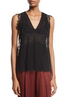 3.1 Phillip Lim Silk V-Neck Lace Tank