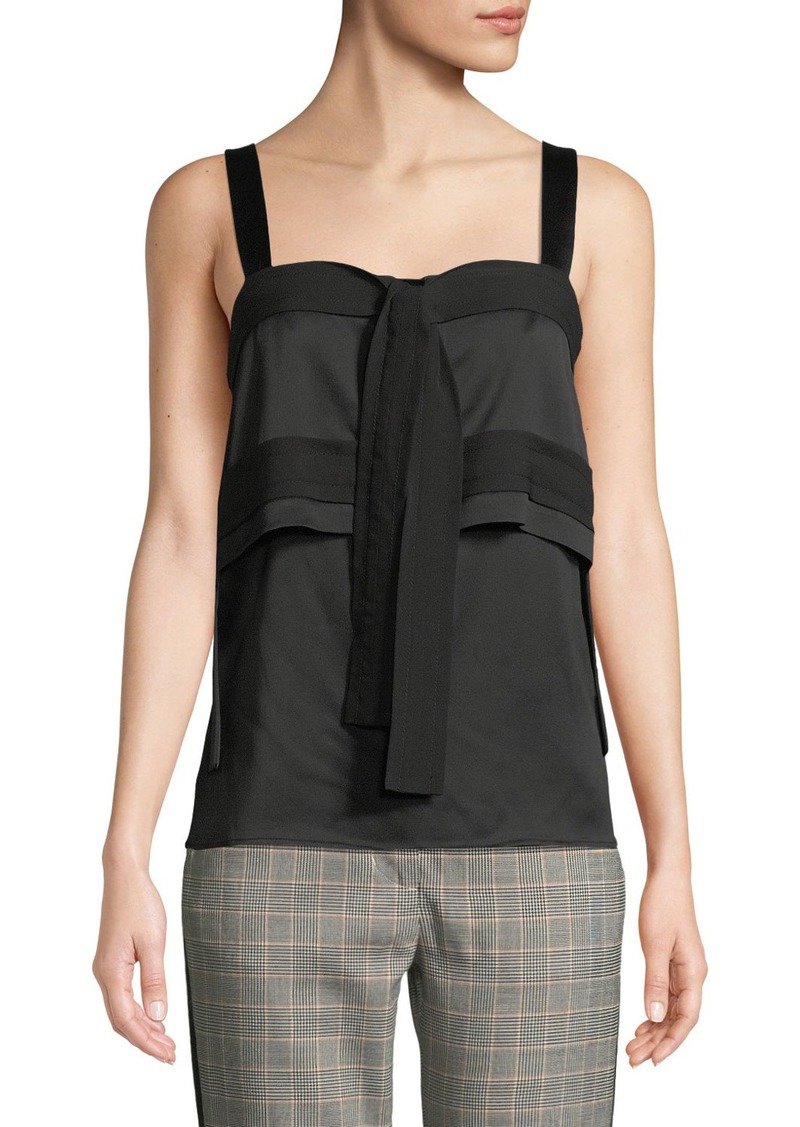 3.1 Phillip Lim Square-Neck Tie-Front Tiered Crepe Tank