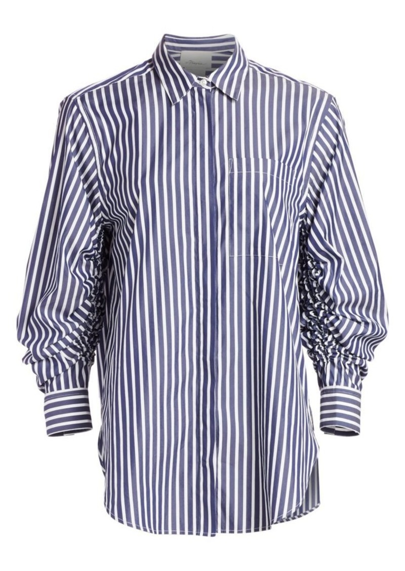 3.1 Phillip Lim Stripe Gather-Sleeve Shirt