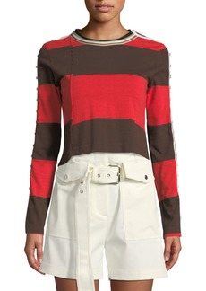 3.1 Phillip Lim Striped Long-Sleeve Jersey Crop Top
