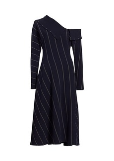 3.1 Phillip Lim Striped One-Shoulder Midi Dress