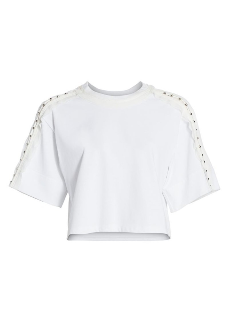 3.1 Phillip Lim Stud-Sleeve Crop Tee