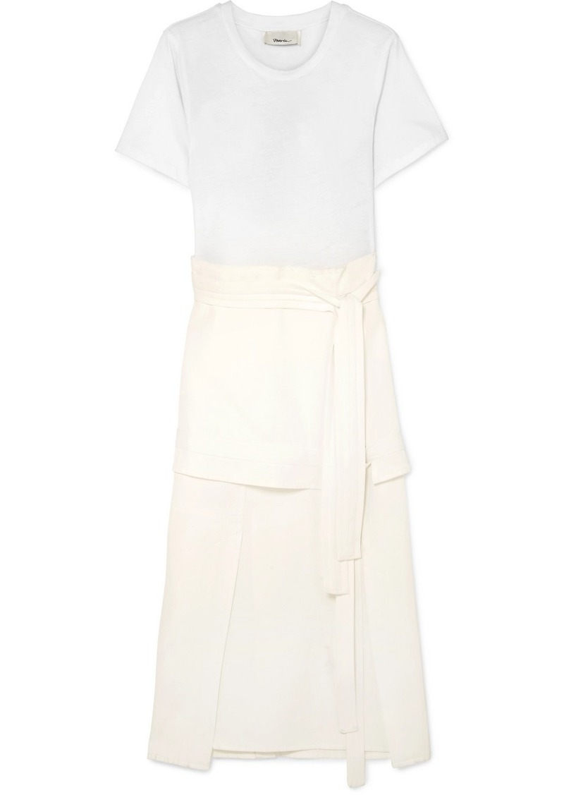 3.1 Phillip Lim Tie-detailed Stretch-jersey And Poplin Midi Dress