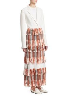 3.1 Phillip Lim Tiered Tweed Fringe Tailored Blazer Maxi Dress