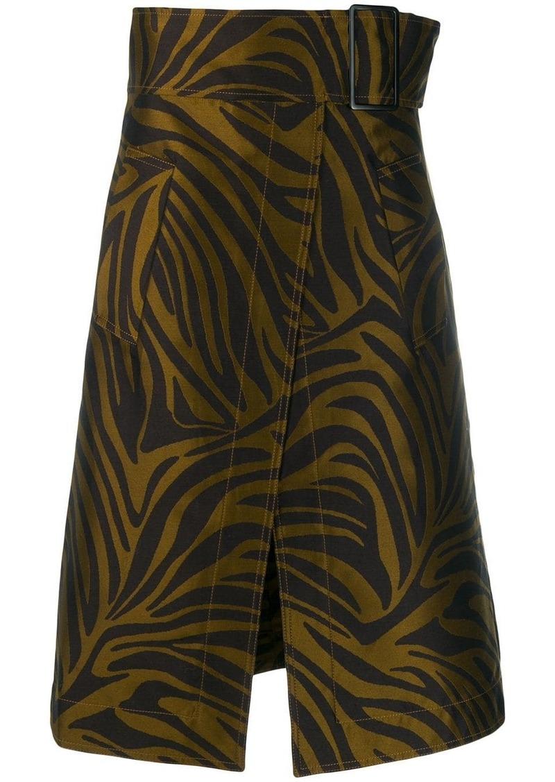 3.1 Phillip Lim tiger print A-line skirt