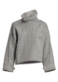 3.1 Phillip Lim Tweed High-Collar Zippered Blouse