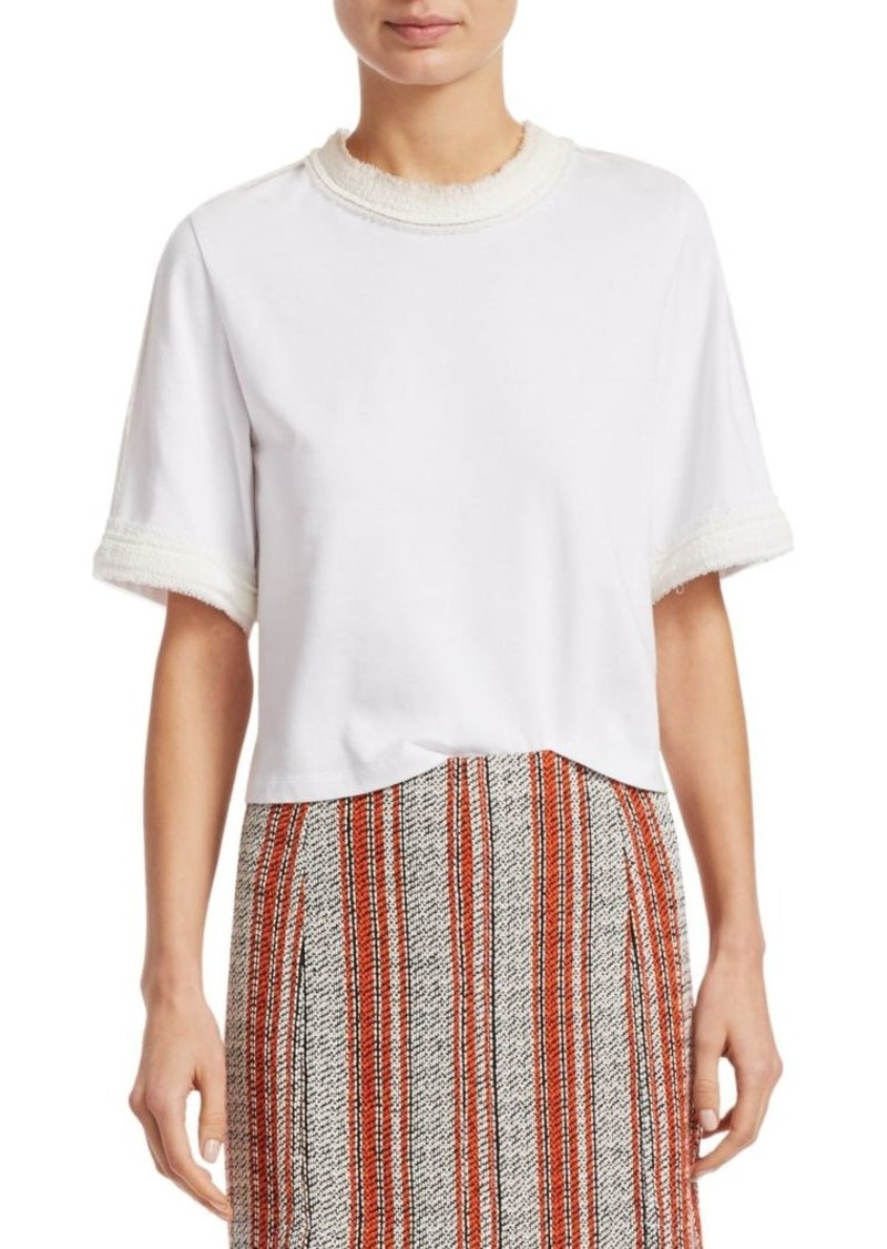 3.1 Phillip Lim Tweed-Trim Crop Jersey Tee