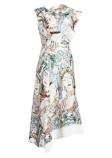 3.1 Phillip Lim Twisted Face Print Asymmetrical Silk Midi Dress