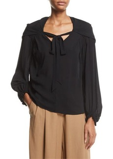 3.1 Phillip Lim V-Neck Full-Sleeve Silk Blouse