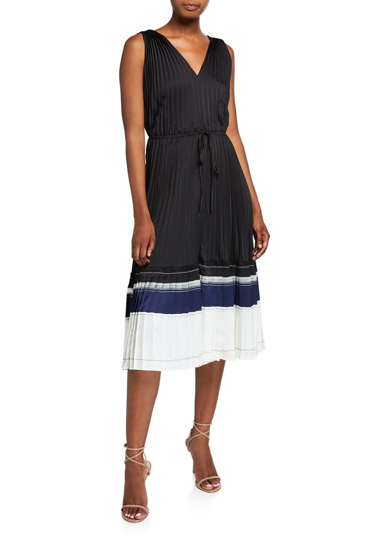 3.1 Phillip Lim V-Neck Pleated Sleeveless Midi Dress