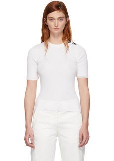 3.1 Phillip Lim White Button Short Sleeve Sweater