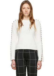 3.1 Phillip Lim White Embellished Sleeve Sweater