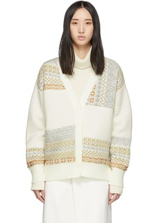 3.1 Phillip Lim White Merino Series Fairisle Patchwork Holiday Cardigan