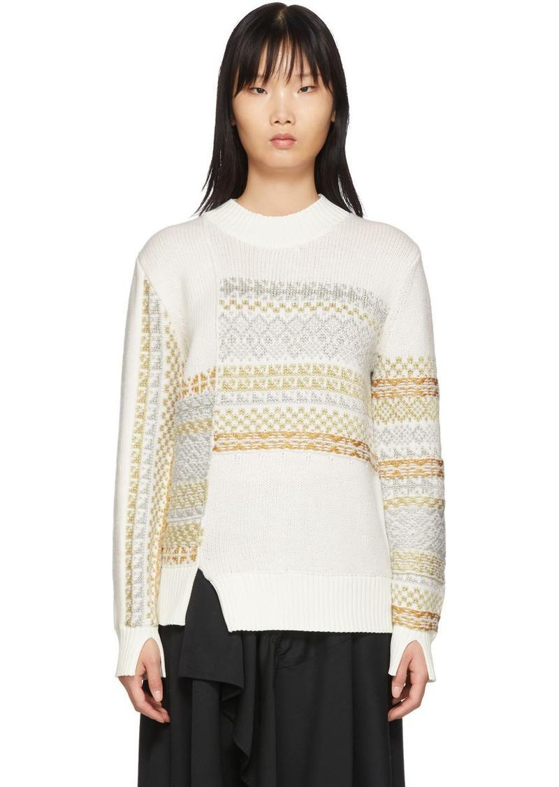 3.1 Phillip Lim White Merino Series Patchwork Holiday Sweater