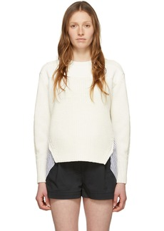 3.1 Phillip Lim White Patchwork Woven Combo Sweater