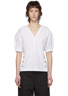 3.1 Phillip Lim White Poplin Side Stud Blouse