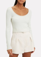 3.1 Phillip Lim White Ribbed Crop Top