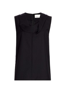 3.1 Phillip Lim Wool-Blend Serge Fold Collar Top