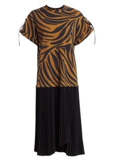 3.1 Phillip Lim Zebra Print Pleated T-Shirt Dress