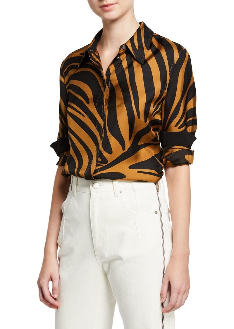 3.1 Phillip Lim Zebra Print Satin Button-Front Shirt