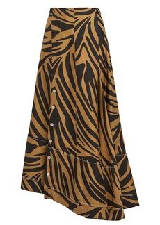 3.1 Phillip Lim Zebra Print Snap Midi Skirt