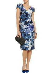 Lela Rose Wrap-effect printed sateen dress