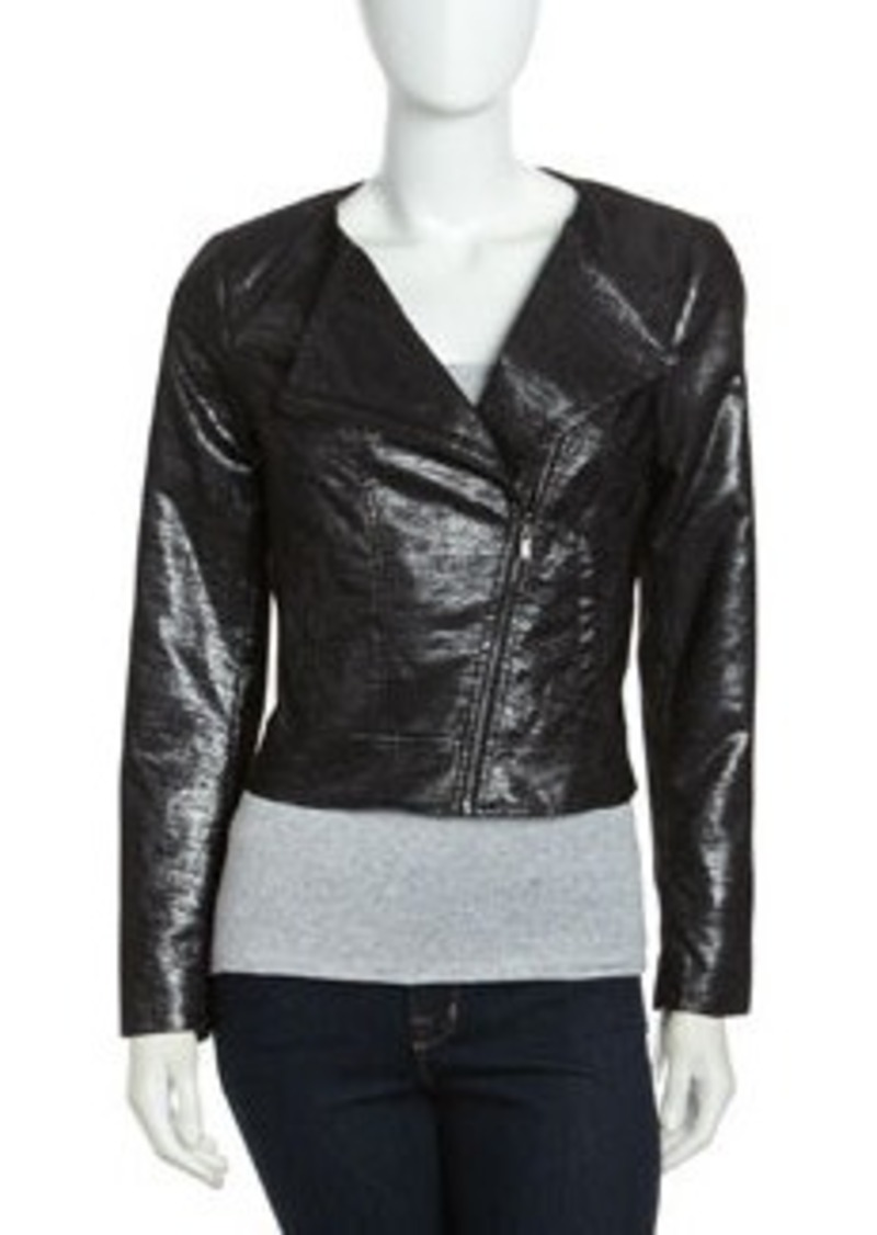 Laundry by Shelli Segal Motorcycle Jacket, Silver