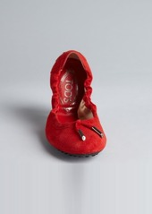Tod's poppy textured suede tasseled ballet flats