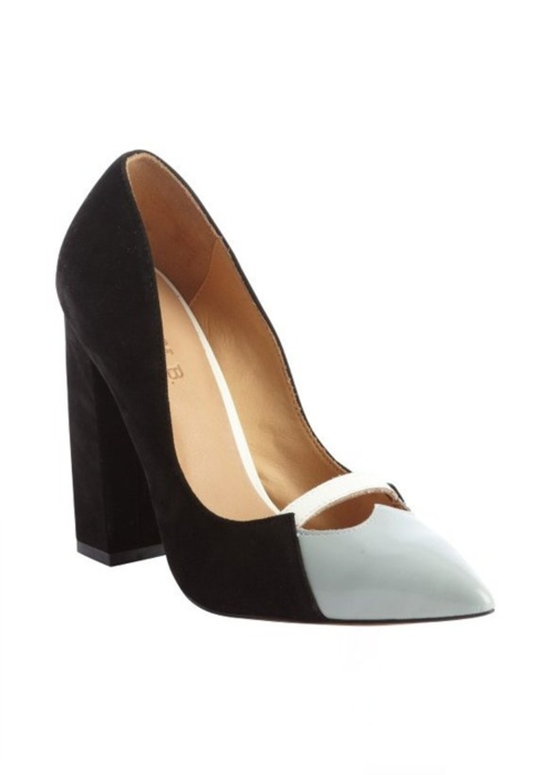 L.A.M.B. black and grey suede-patent leather 'Janaye' pumps