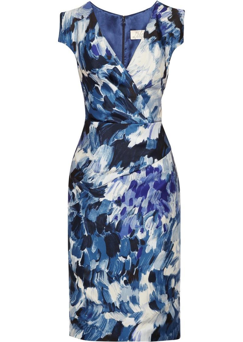 Lela Rose Wrap-effect printed sateen dress