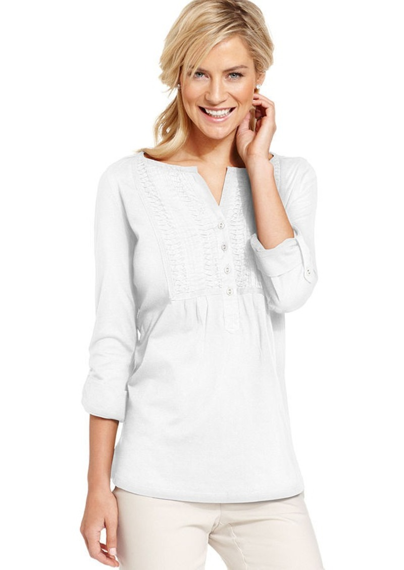Charter Club Top, Three-Quarter-Sleeve Cotton