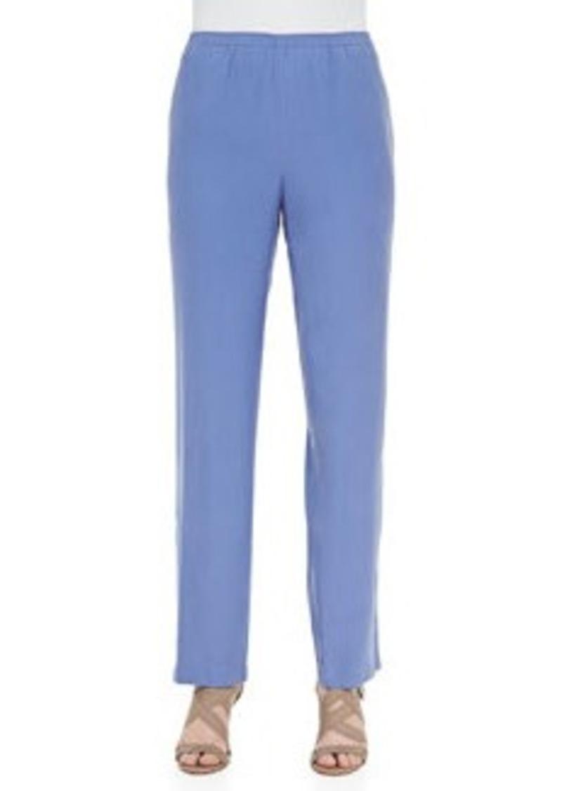 Go Silk Solid Silk Pants, Blue, Petite