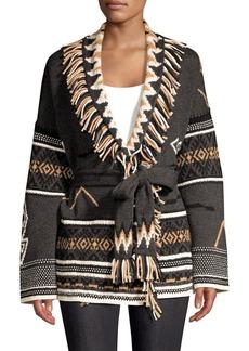 360 Cashmere Belted Fringe Wool & Cashmere-Blend Cardigan