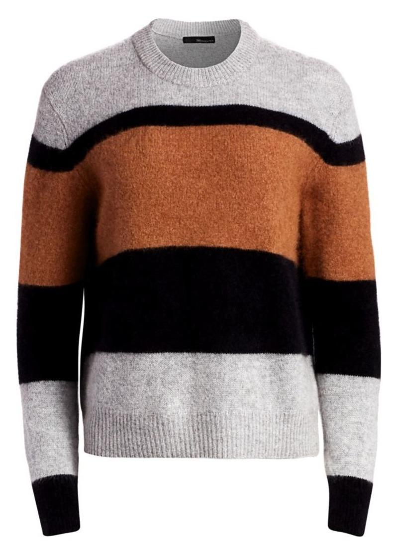 360 Cashmere Block Stripe Crew Sweater