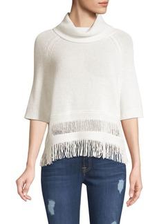 360 Cashmere Brittany Fringe Hem Turtleneck Sweater