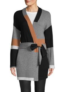 360 Cashmere Colorblocked Cashmere Wrap Cardigan