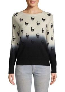 360 Cashmere Dip Dye Skull-Print Cashmere Sweater