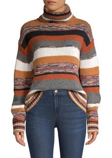 360 Cashmere Elenor Striped Crop Cashmere Turtleneck Sweater