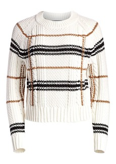 360 Cashmere Ella Plaid Crop Sweater