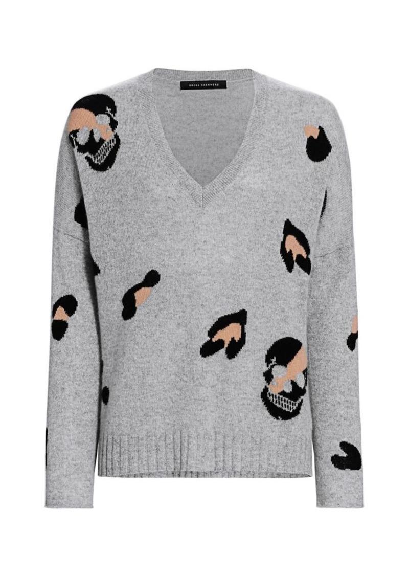 360 Cashmere Heidi Leopard Skull Cashmere Sweater