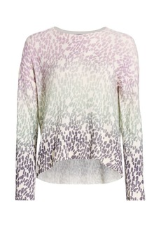 360 Cashmere Izzy Leopard Print Cashmere Pullover