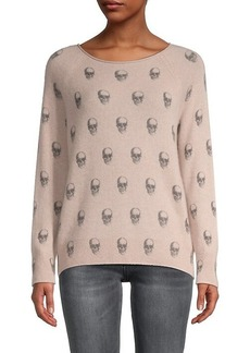 360 Cashmere Karly Skull-Print Cashmere Sweater
